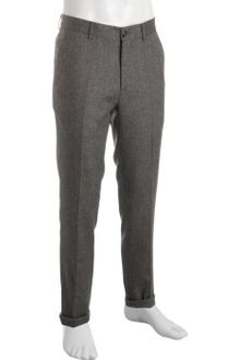 Brunello Cucinelli Dark Grey Herringbone Cotton Flat Front Pants - Lyst