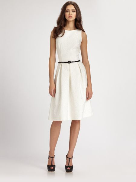 david meister belted dress in white lyst