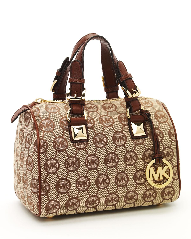 Beige Mocha Väska : Michael kors grayson small monogrammed satchel