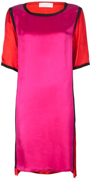 Stella Mccartney Color Block Dress in Pink - Lyst