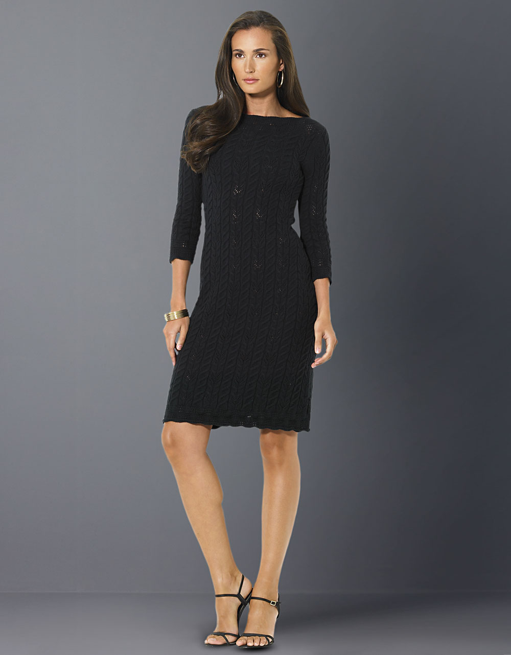 Lauren By Ralph Lauren Cable Knit Sweater Dress In Black Lyst