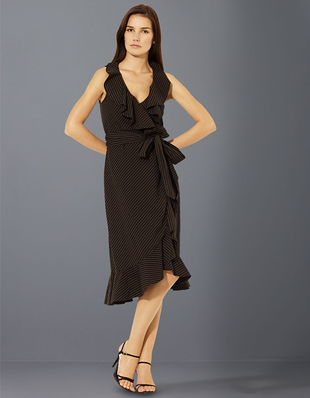 Lauren By Ralph Lauren Sleeveless Ruffled Wrap Dress In