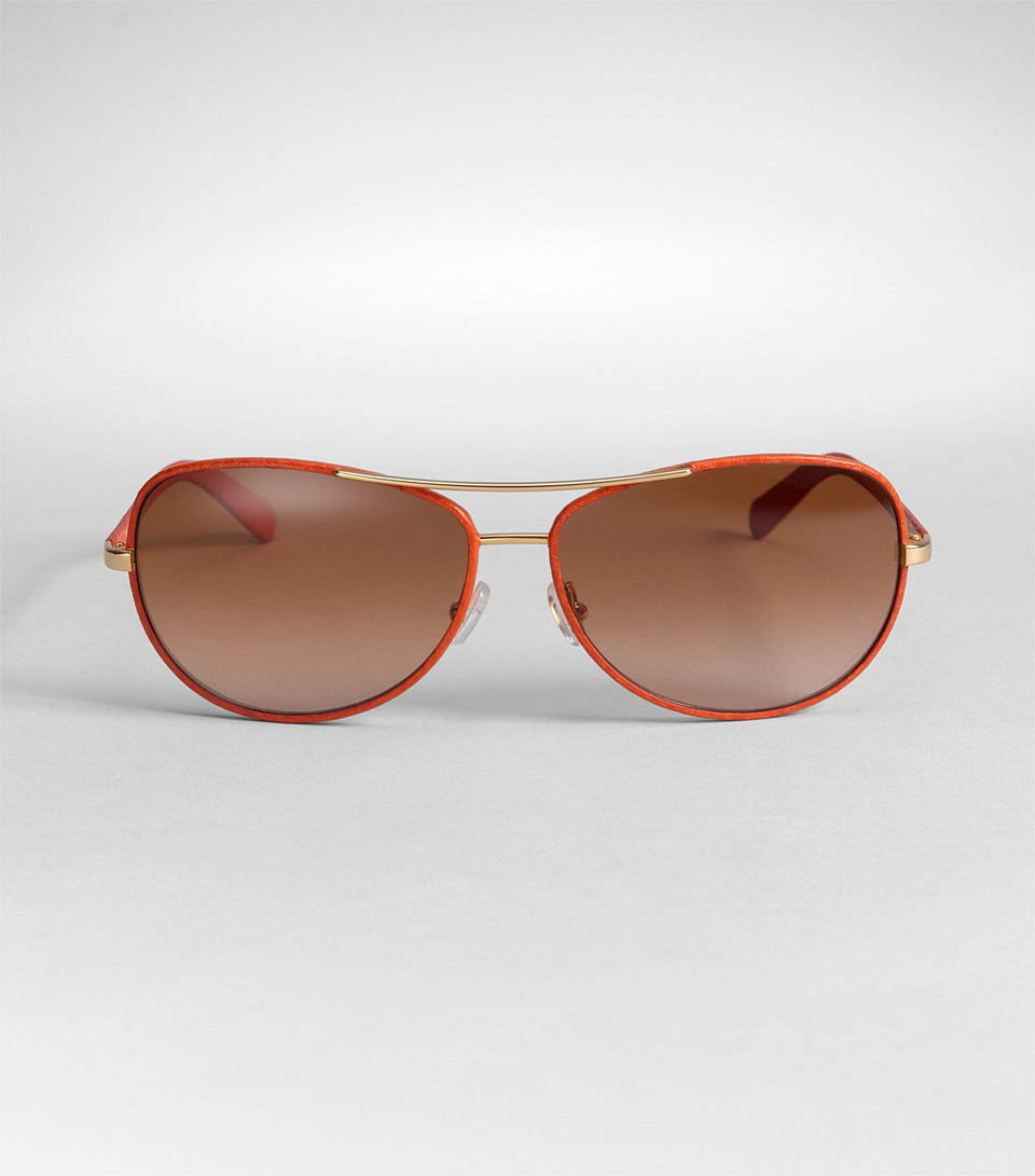 5eebce74681e0 Tory Burch Leather Covered Aviator Sunglasses in Orange - Lyst