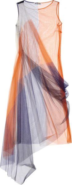 Jil Sander Color-block Tulle Dress in Orange