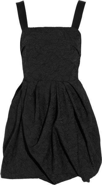 Lanvin Embroidered Bubbleskirt Crepe Dress in Black - Lyst