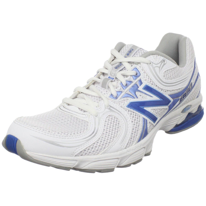 new balance womens ww860 walking shoe in white white blue