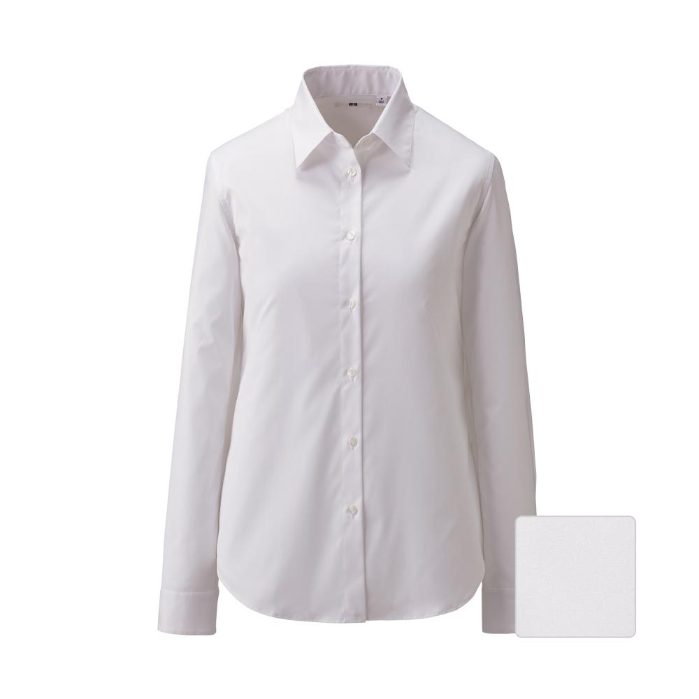 Uniqlo women uv cut stretch broadcloth long sleeve shirt for Uv long sleeve shirt womens