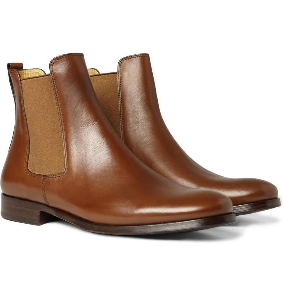 a p c leather chelsea boots in brown for lyst
