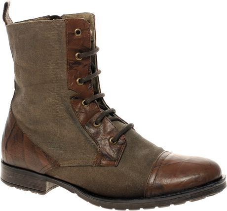 asos asos leather and canvas work boots in brown for