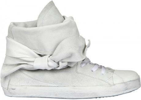 Cinzia Araia Suede Lace Around High Sneakers in White