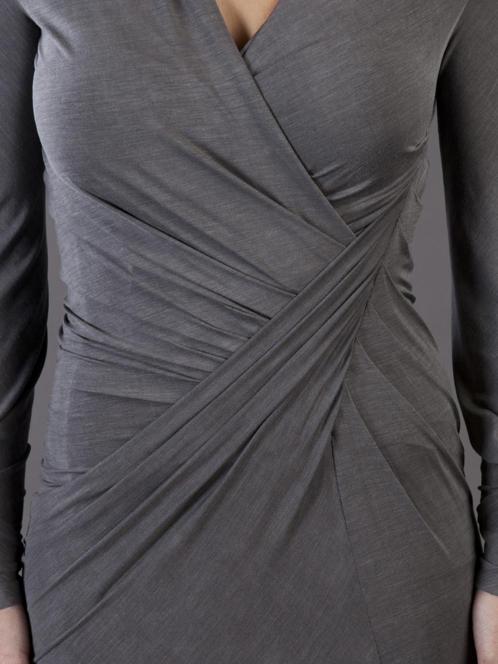 Donna Karan Jersey Drape Dress In Grey Lyst