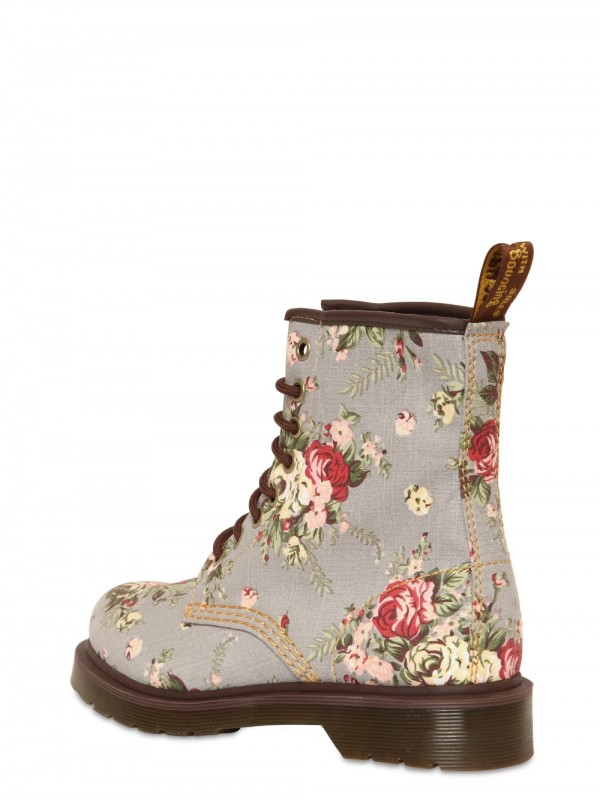 Lyst Dr Martens Floral Print Canvas Lace Up Boots In Gray