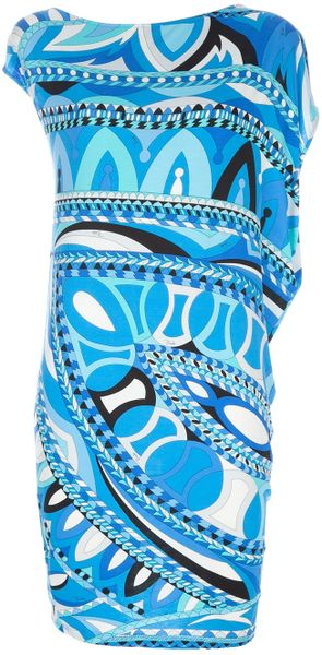Emilio Pucci Cap Sleeved Dress in Blue