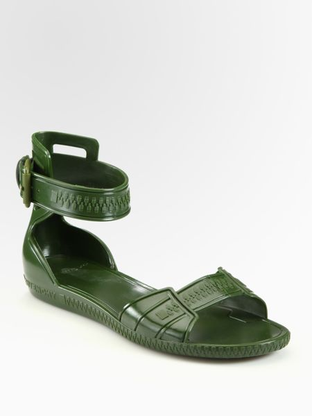 Givenchy Flat Jelly Sandals In Green Militarygreen Lyst