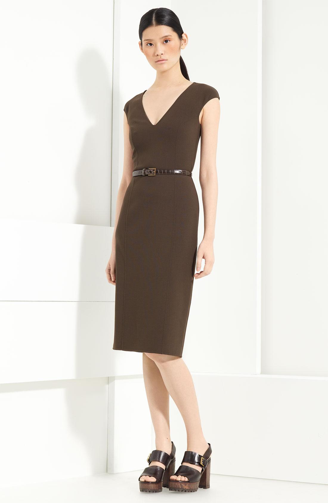 michael kors belted stretch wool dress in brown teak lyst