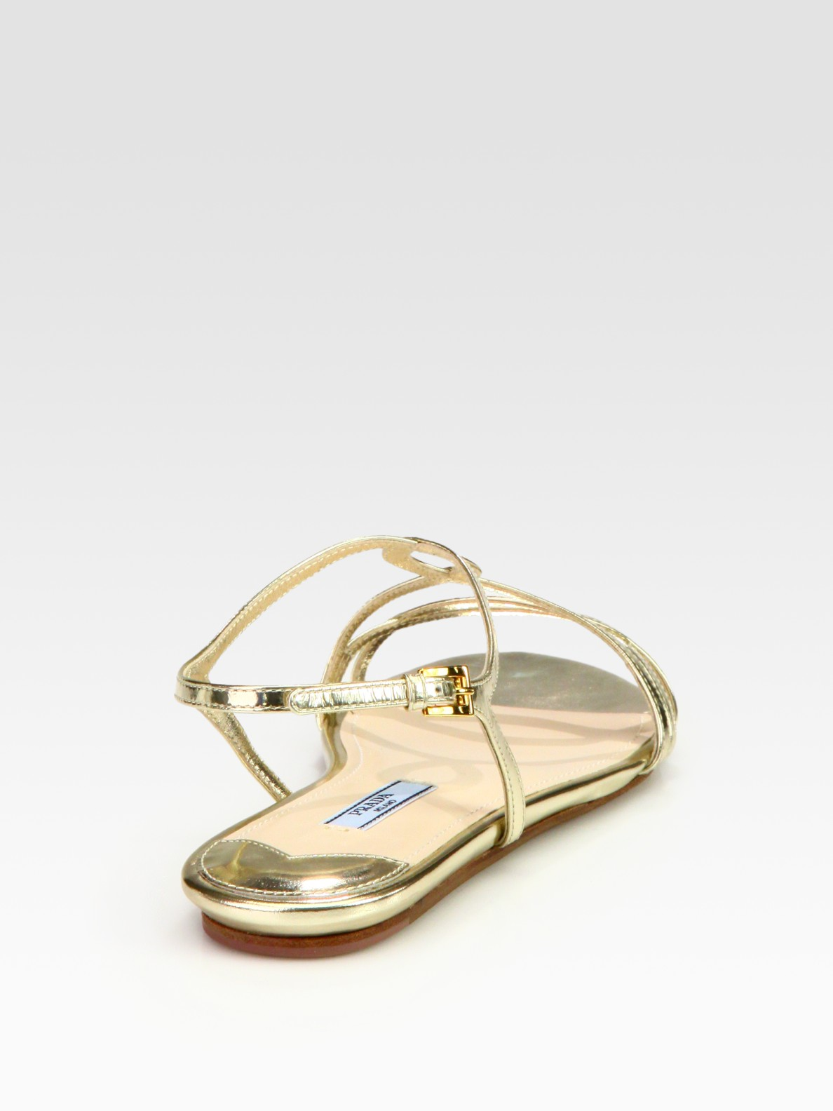 Prada Metallic Leather Flat Sandals Lyst