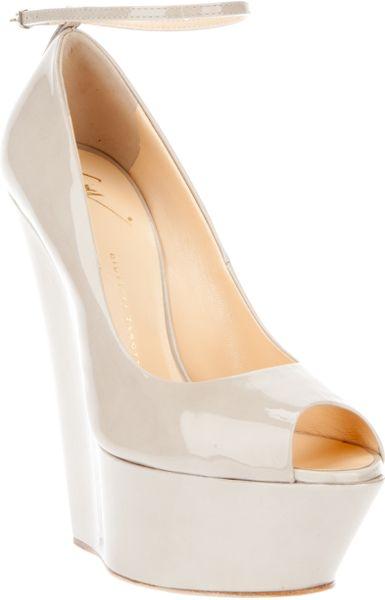 Giuseppe Zanotti Peep Toe Wedge Shoe In Beige Cream Lyst
