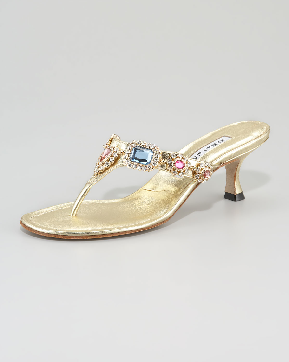 Manolo blahnik Beaded Kitten-heel Thong Sandal in Metallic | Lyst