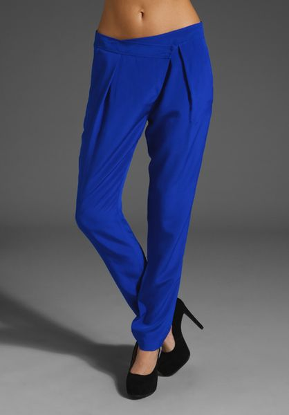 Tibi Silk Pleated Pant in Blue