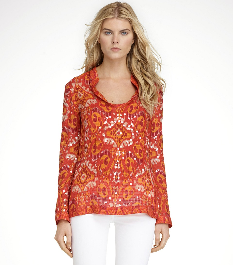 Lyst tory burch stephanie tunic in red for Tory burch fashion island