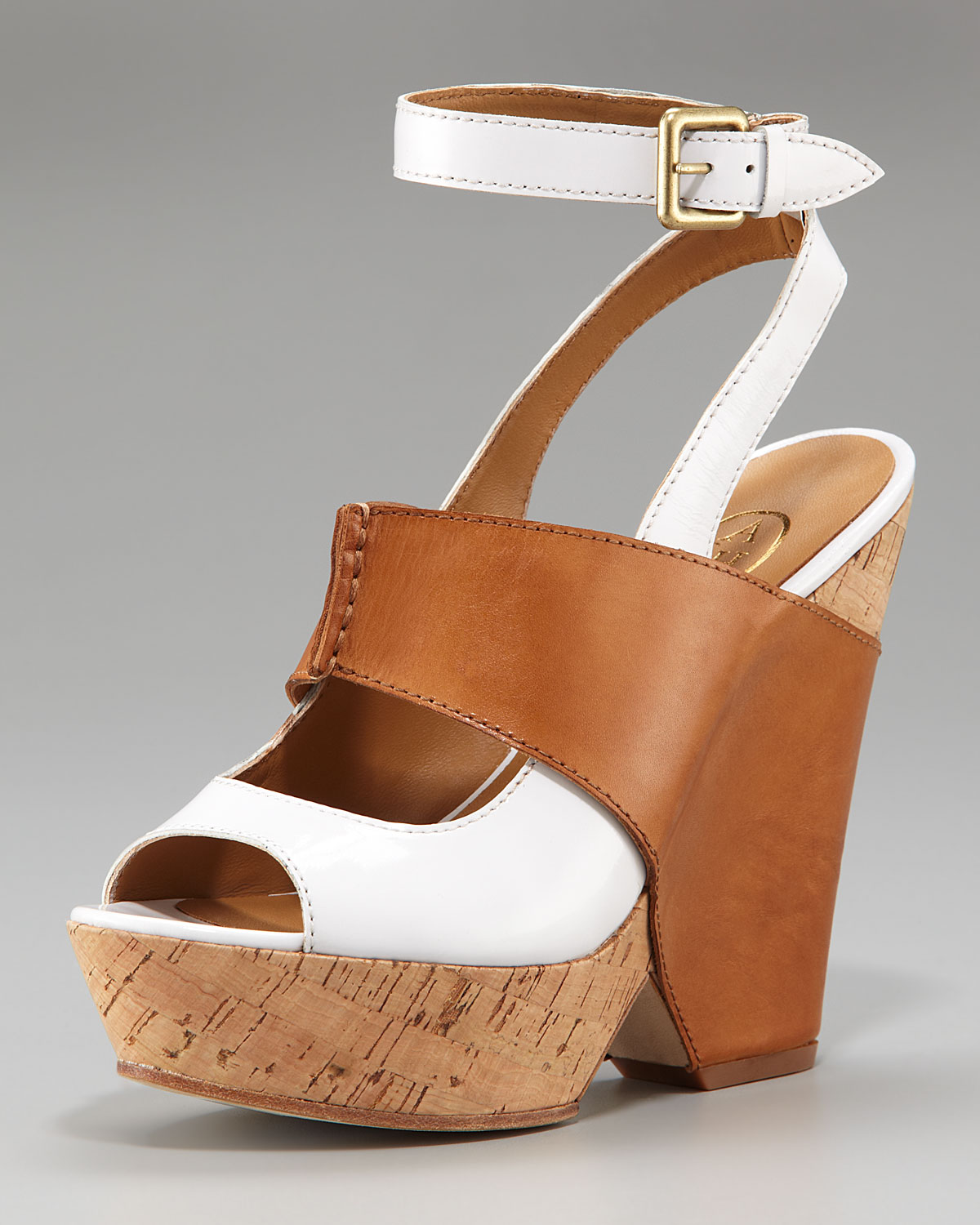 Ash Colorblock Cork Wedge Sandal In Brown White Natural
