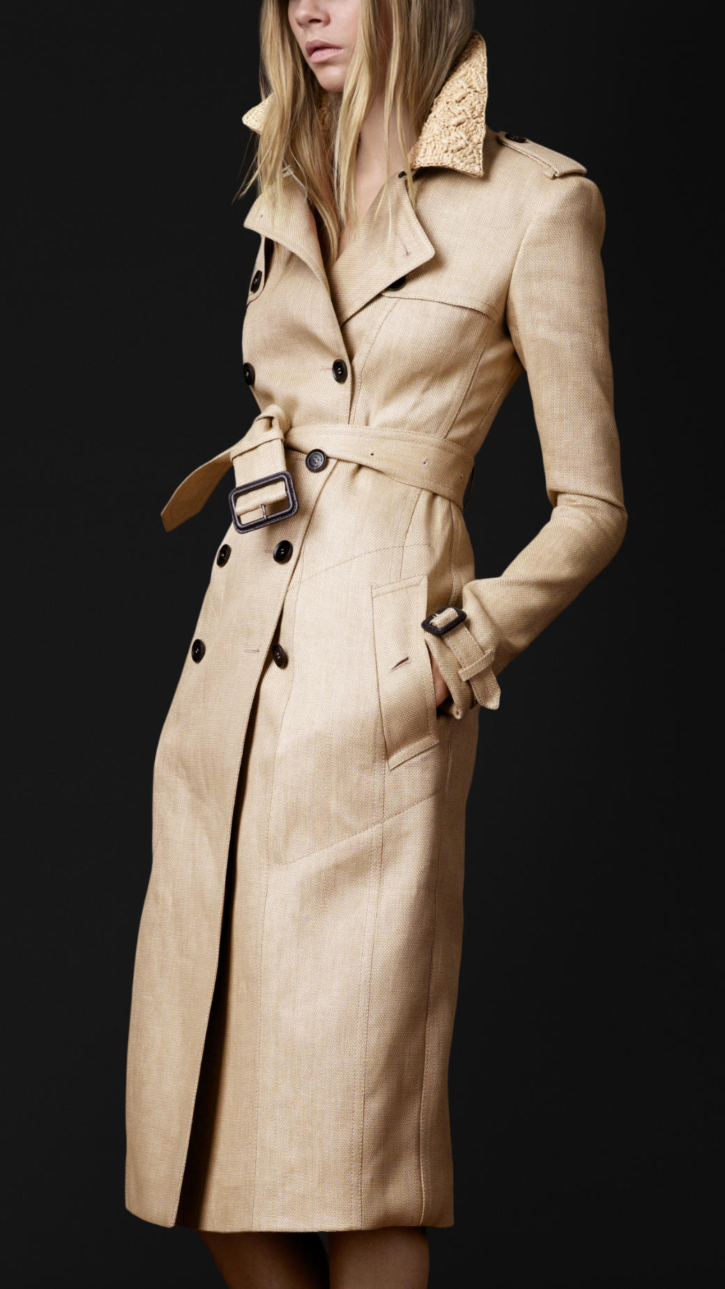 Burberry Prorsum Woven Raffia Trench Coat In Natural Lyst