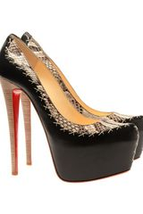 Christian Louboutin Dafreak Python and Leather Platform Pumps