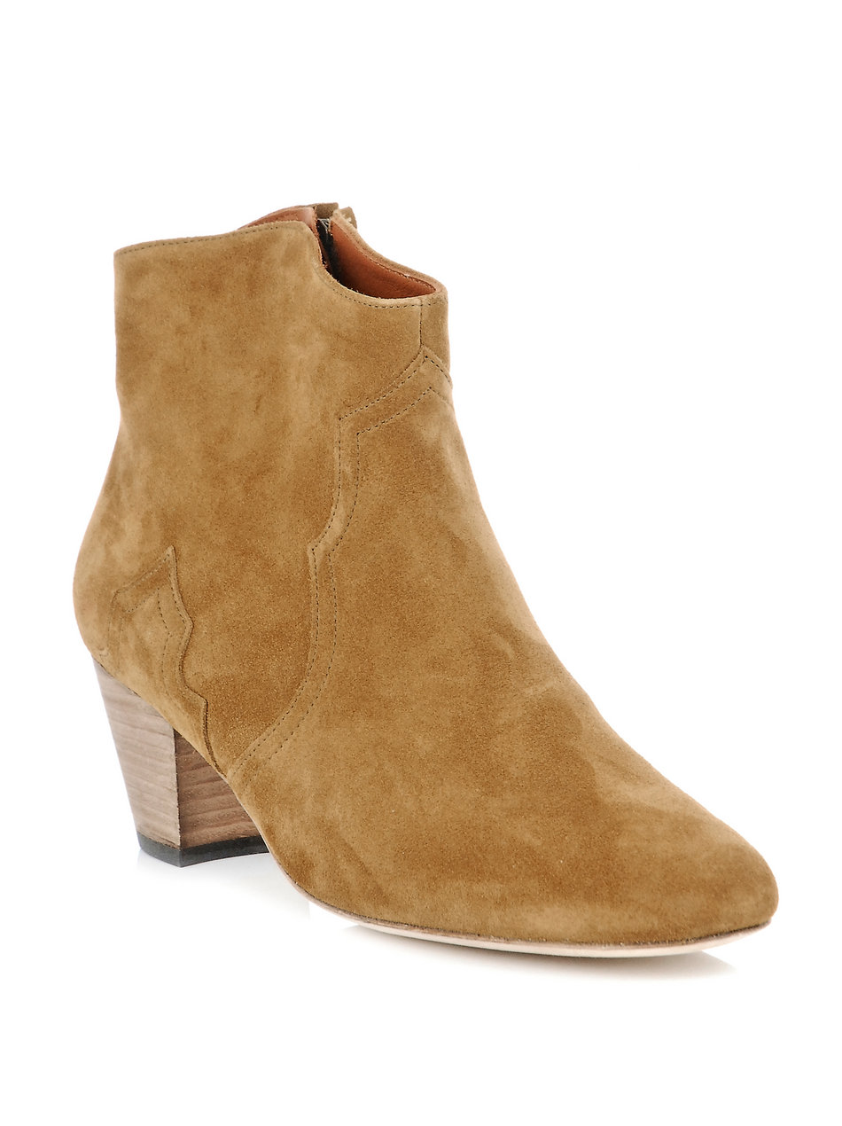 isabel marant dicker suede boots in beige brown lyst. Black Bedroom Furniture Sets. Home Design Ideas