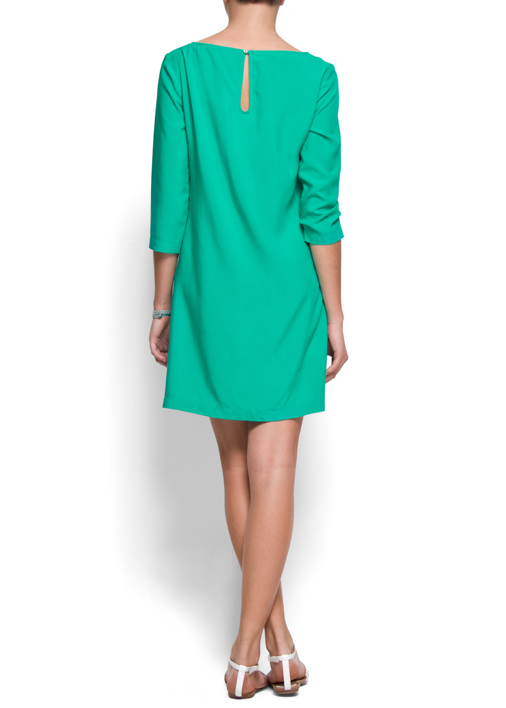 Lyst Mango Straight Cut Dress In Green