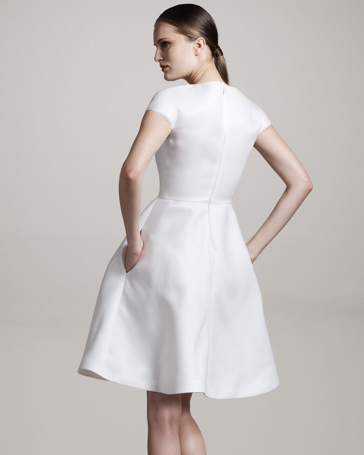 Valentino Cap-sleeve A-line Dress in White | Lyst