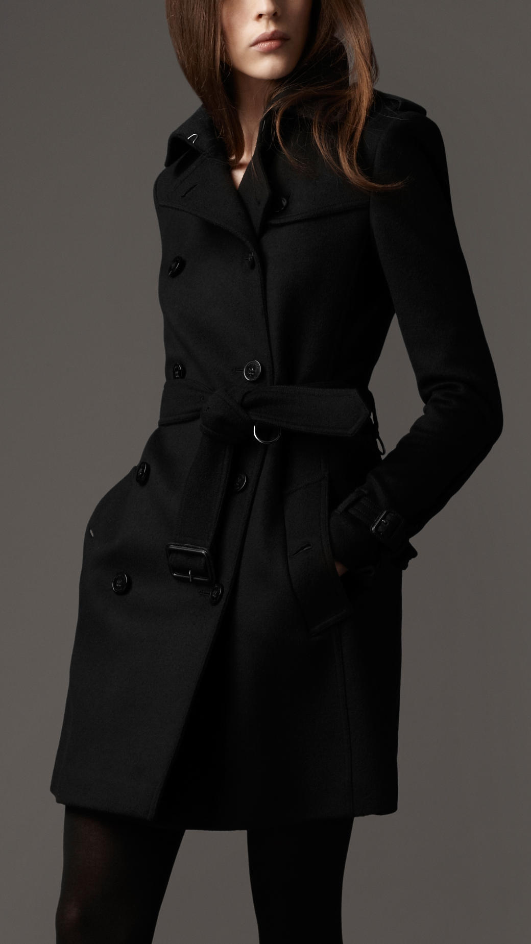 Burberry Wool Cashmere Trench Coat in Black | Lyst