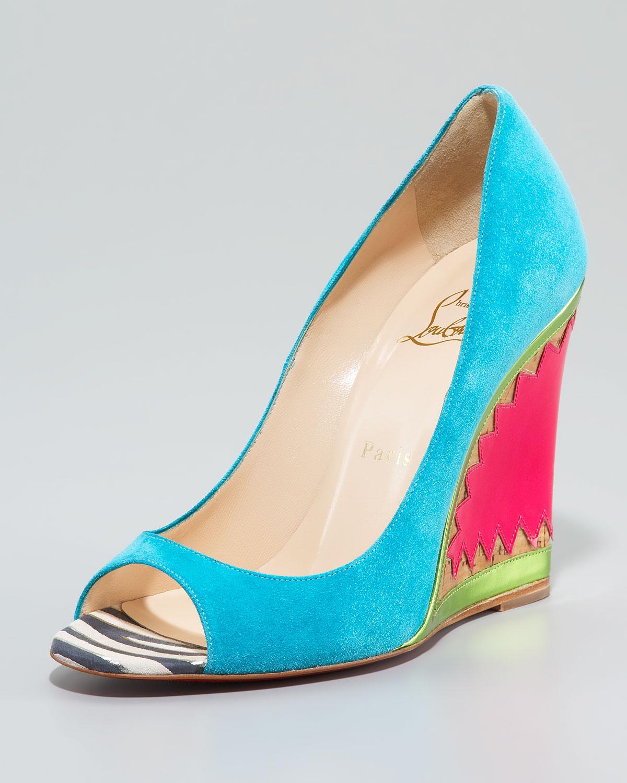 christian louboutin round-toe wedges Blue suede - Bbridges