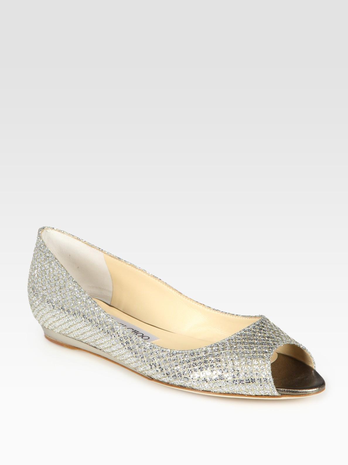 jimmy choo beck glitter coated metallic leather peep toe ballet flats in metallic lyst. Black Bedroom Furniture Sets. Home Design Ideas