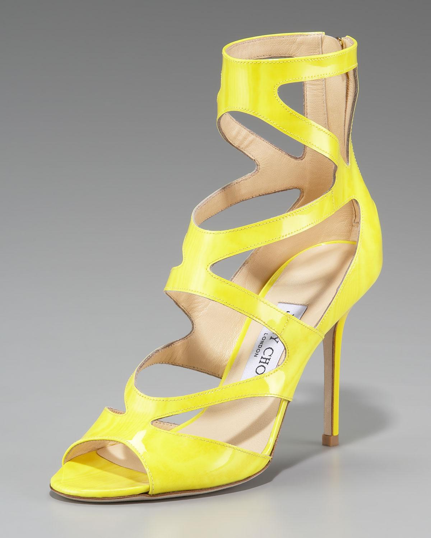 22564f59777a Lyst - Jimmy Choo Neon Zigzag Ankle-wrap Sandal in Yellow
