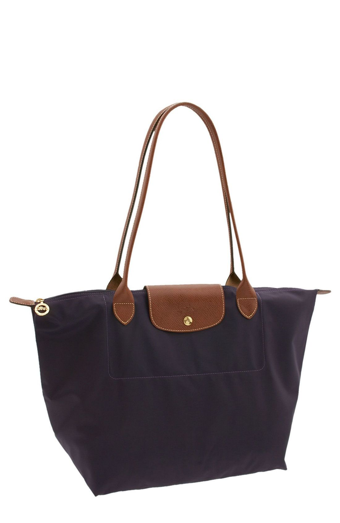 longchamp 39 large le pliage 39 tote in blue dark purple bilberry lyst. Black Bedroom Furniture Sets. Home Design Ideas