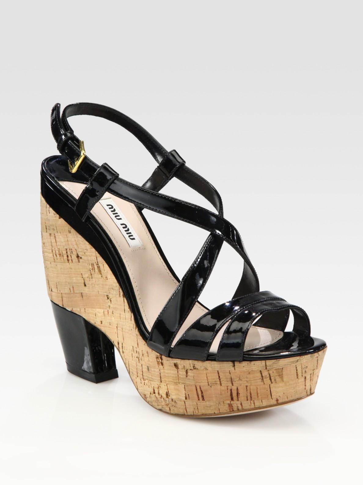 159c9662341 Lyst - Miu Miu Patent Leather Cork Platform Sandals in Orange