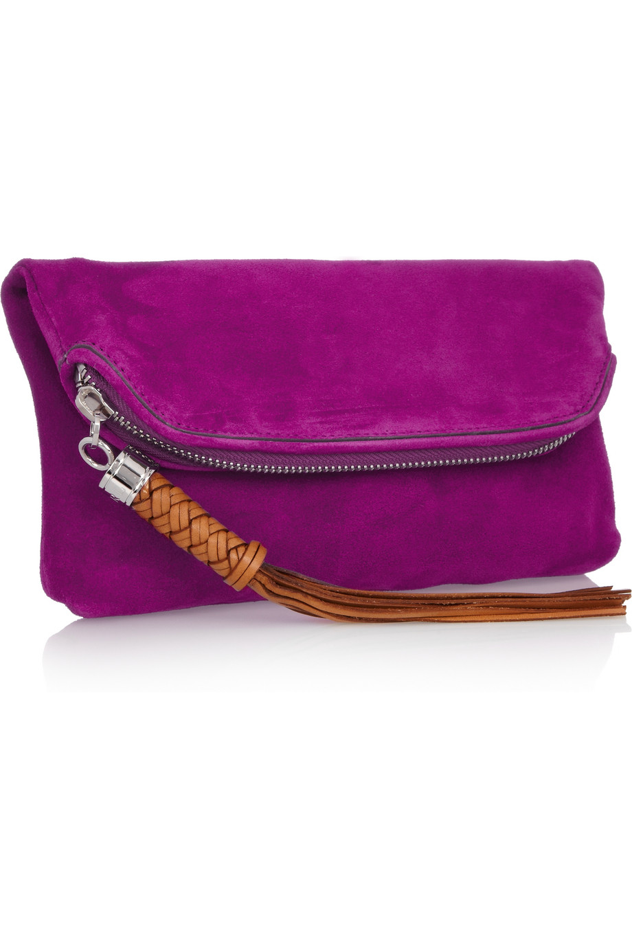 lyst ralph lauren collection tasseled suede clutch in purple. Black Bedroom Furniture Sets. Home Design Ideas