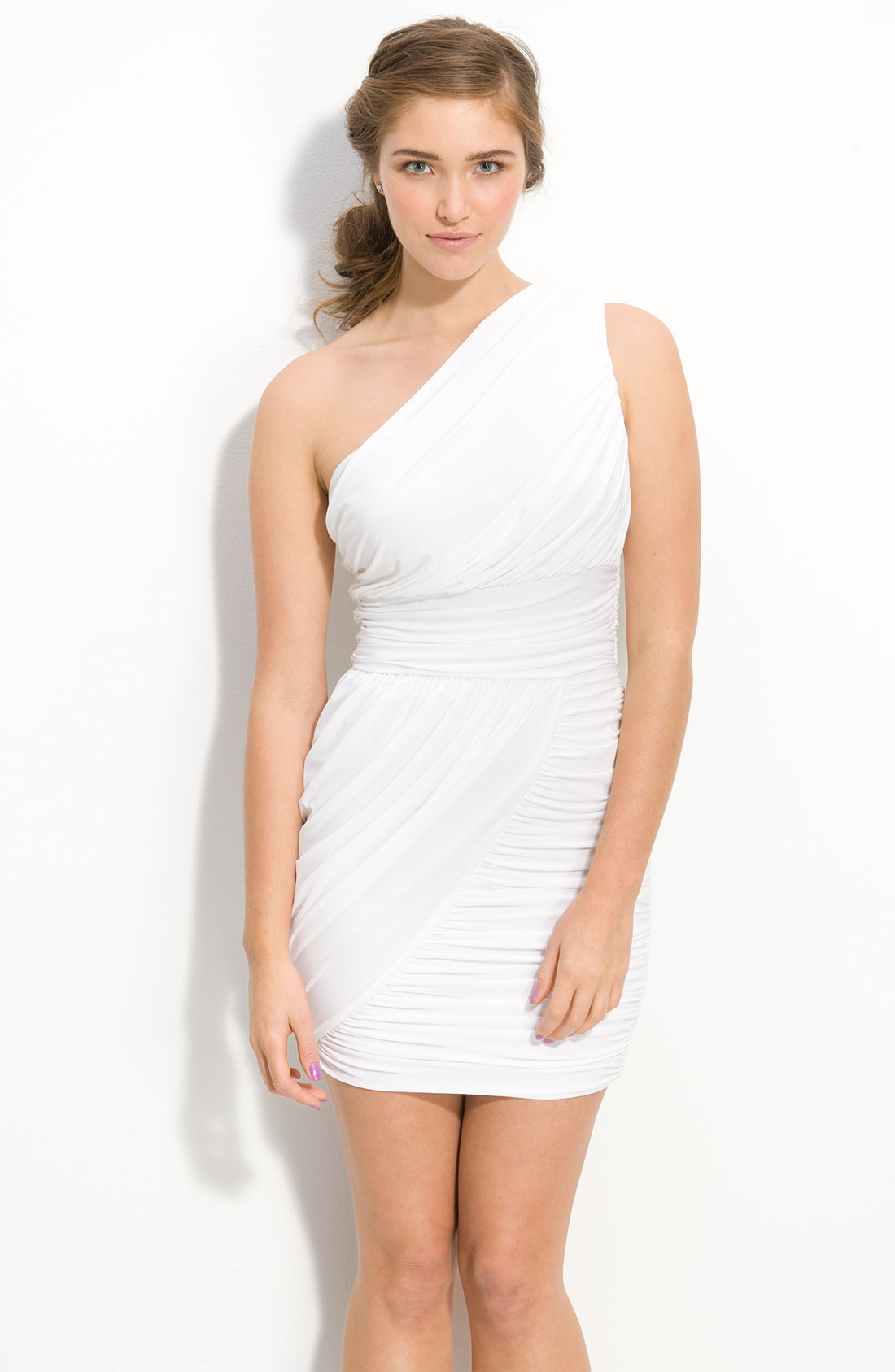 one shoulder long dress white ruched