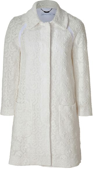 See By Chloé Ivory Cotton Lace Coat in White (ivory)