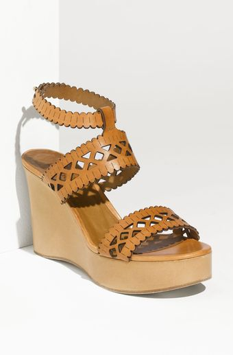 Chloé Cut Out Wedge Sandal - Lyst