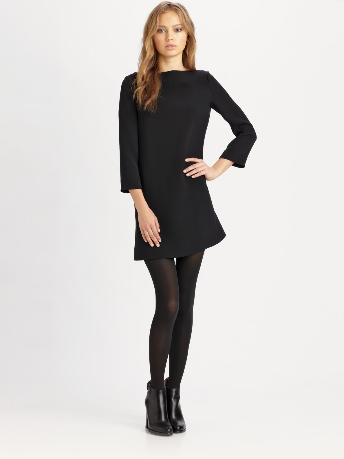 Vince Silk Boatneck Mini Dress In Black Lyst