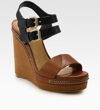 Chloé Two-tone Leather Slingback Wedge Sandals - Lyst