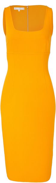Michael Kors Amber Square Neck Sheath Dress in Yellow