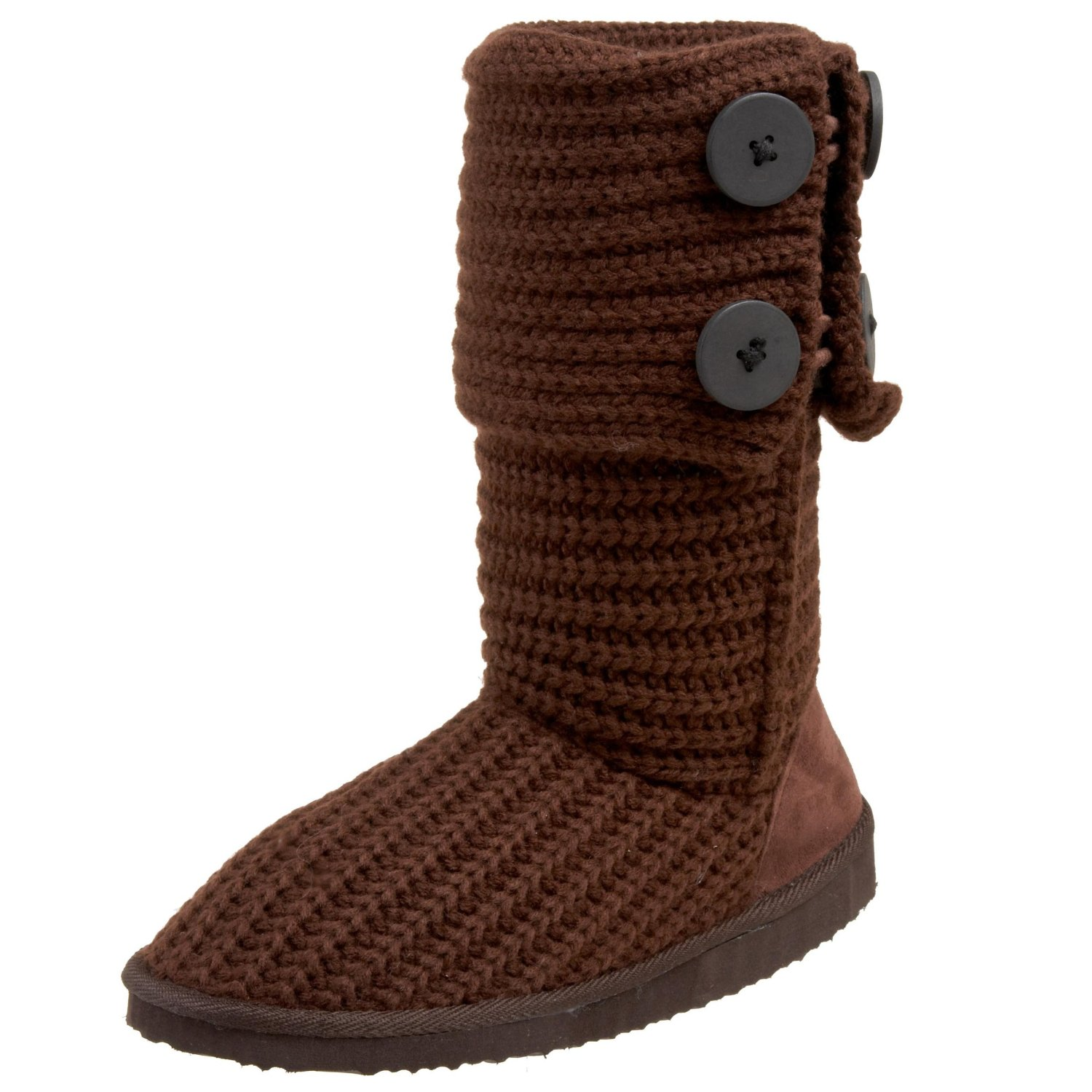 Miss Me CupcakeA Sweater Ankle Boot. Convertible shaft with large button decors. Warm and soft sweater material, round toe, faux fur insole and comfortable lining. .