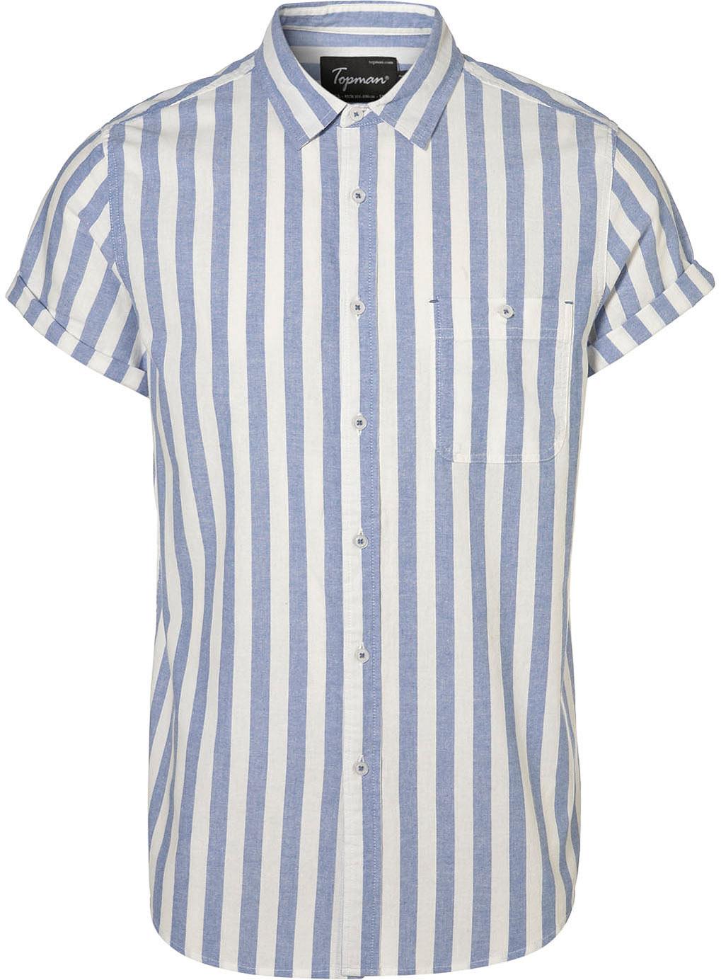 Topman Blue Wide Stripe Oxford Shirt In Blue For Men Lyst
