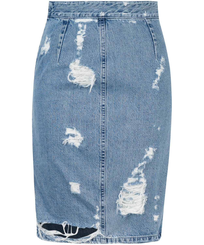 acne studios trash denim skirt in blue denim lyst
