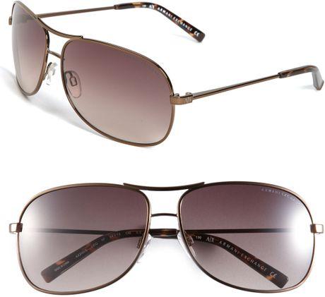Armani Exchange Metal Aviator Sunglasses In Brown For Men