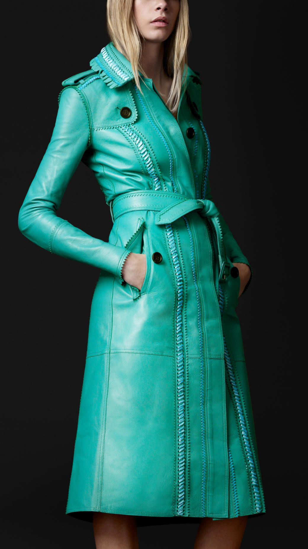 Burberry Prorsum Brogue Leather Trench Coat In Blue