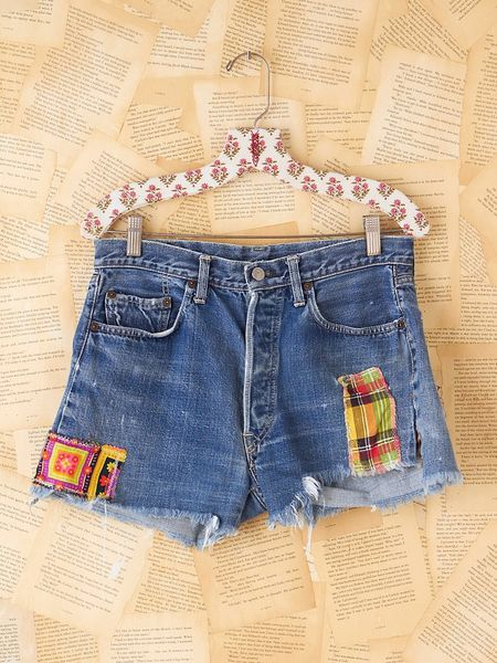 Free People Vintage Patchwork Levis Shorts in Blue (denim)
