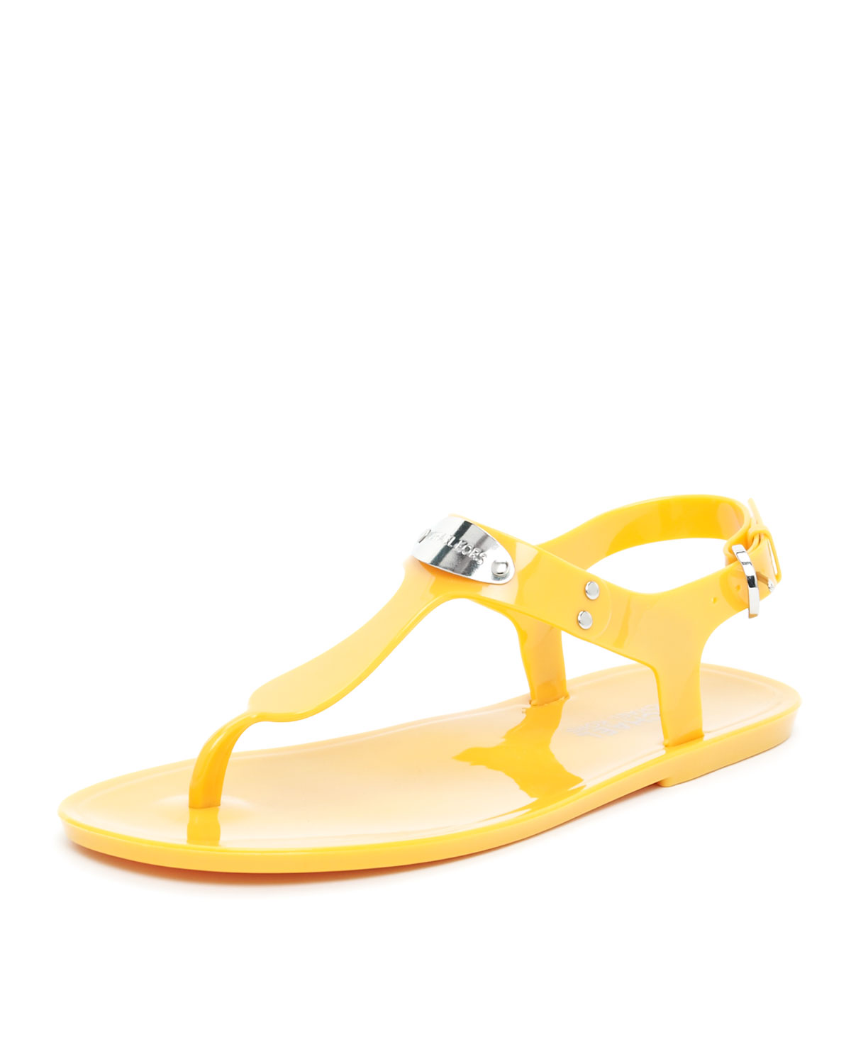 d70186f2a40 Lyst - Michael Kors Logo Plate Jelly Sandal in Orange